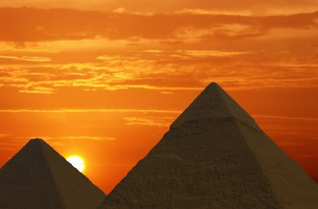 sunrise at the pyramids
