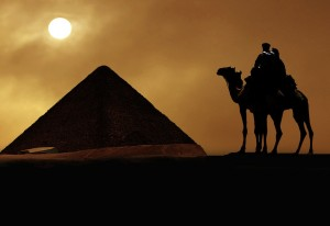 Symbol Egypt's - pyramid, camel, sand and sun